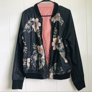 Reversible floral and pink bomber jacket